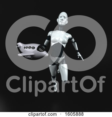 Clipart of a 3d Feminine Robot Holding a Plate, on a Black Background - Royalty Free Illustration by Julos