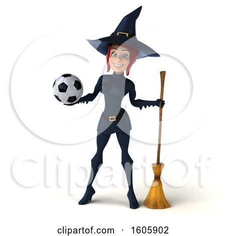 Clipart of a 3d Sexy Blue Witch Holding a Soccer Ball, on a White Background - Royalty Free Illustration by Julos