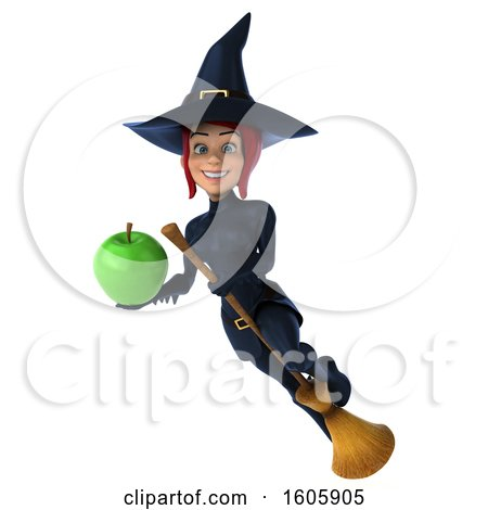 Clipart of a 3d Sexy Blue Witch Holding an Apple, on a White Background - Royalty Free Illustration by Julos
