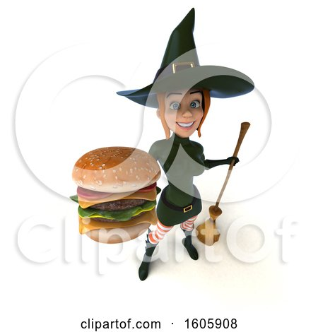 Clipart of a 3d Sexy Green Witch Holding a Burger, on a White Background - Royalty Free Illustration by Julos