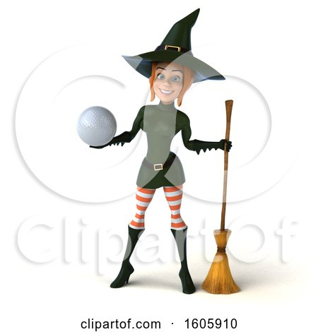 Clipart of a 3d Sexy Green Witch Holding a Golf Ball, on a White Background - Royalty Free Illustration by Julos