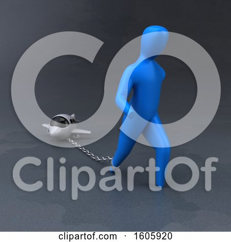 Clipart of a 3d Man Chained to a Plane - Royalty Free Illustration by Julos