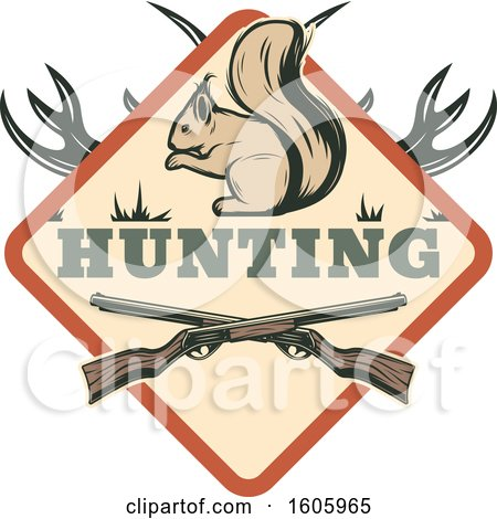 Clipart of a Squirrel Hunting Design with Rifles - Royalty Free Vector Illustration by Vector Tradition SM