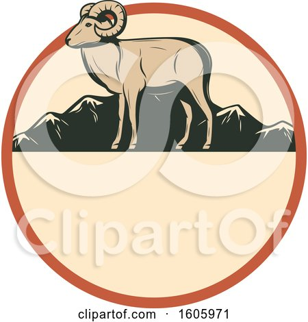 Clipart of a Ram Hunting Design in a Circle - Royalty Free Vector Illustration by Vector Tradition SM