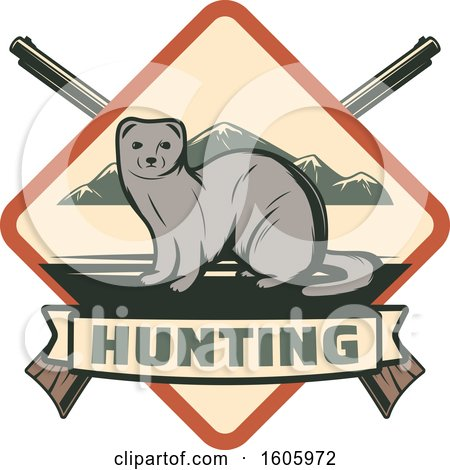 Clipart of a Weasel Hunting Design with Crossed Rifles and Text - Royalty Free Vector Illustration by Vector Tradition SM