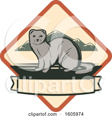 Clipart of a Weasel Design in a Diamond - Royalty Free Vector Illustration by Vector Tradition SM