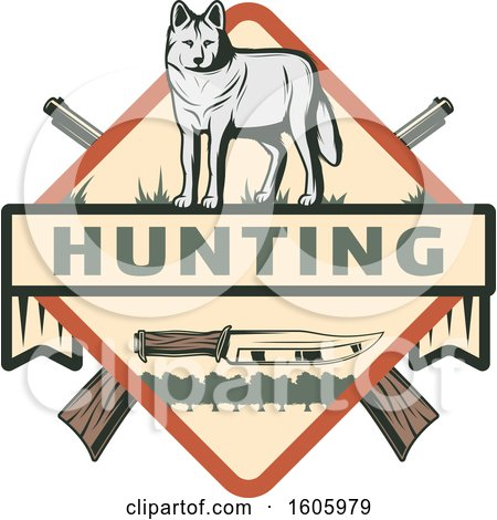 Clipart of a Wolf Hunting Design with a Knife and Crossed Hunting Rifles - Royalty Free Vector Illustration by Vector Tradition SM