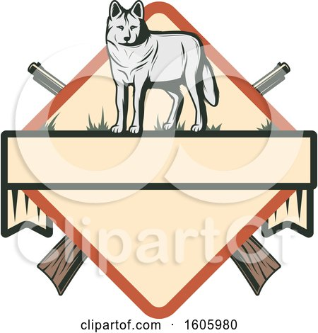 Clipart of a Wolf Hunting Design with Crossed Hunting Rifles - Royalty Free Vector Illustration by Vector Tradition SM