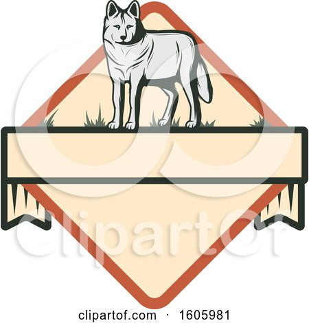 Clipart of a Wolf in a Diamond - Royalty Free Vector Illustration by Vector Tradition SM