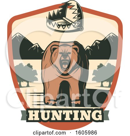 Clipart of a Bear Hunting Design - Royalty Free Vector Illustration by Vector Tradition SM