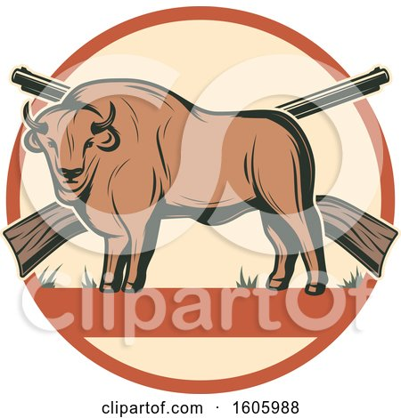 Clipart of a Buffalo Hunting Design with Rifles - Royalty Free Vector Illustration by Vector Tradition SM