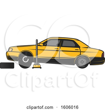 Clipart of a Rear View of a Blue Car on a Jack - Royalty Free Vector Illustration by Vector Tradition SM