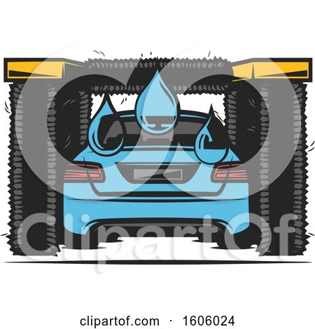 Clipart of a Rear View of a Blue Car Getting Washed - Royalty Free Vector Illustration by Vector Tradition SM