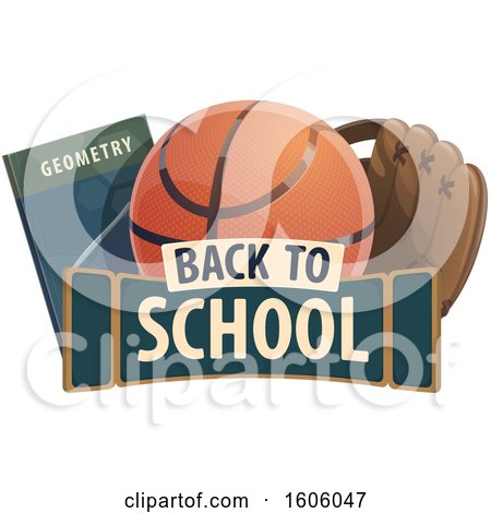 Clipart of a Back to School Design with a Book Basketball and Baseball Glove - Royalty Free Vector Illustration by Vector Tradition SM