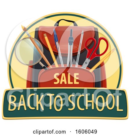 Clipart of a Back to School Design with a Backpack - Royalty Free Vector Illustration by Vector Tradition SM