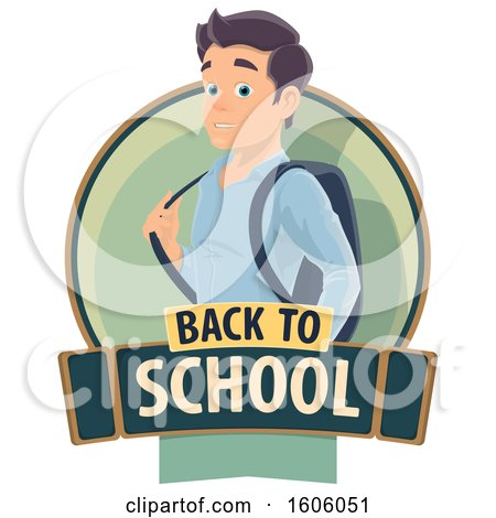 Clipart of a Back to School Design with a Male Student - Royalty Free Vector Illustration by Vector Tradition SM