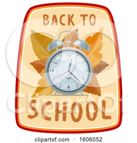 Clipart of a Back to School Design with an Alarm Clock and Autumn Leaves - Royalty Free Vector Illustration by Vector Tradition SM