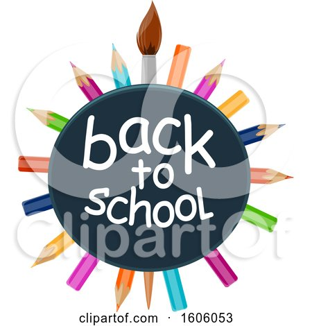 Clipart of a Back to School Design with a Paintbrush and Colored Pencils - Royalty Free Vector Illustration by Vector Tradition SM