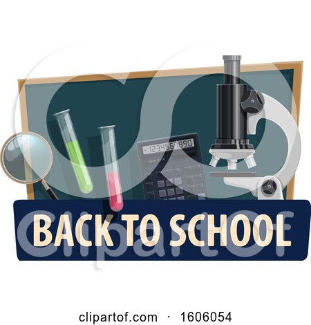 Clipart of a Back to School Design with a Microscope and Supplies - Royalty Free Vector Illustration by Vector Tradition SM