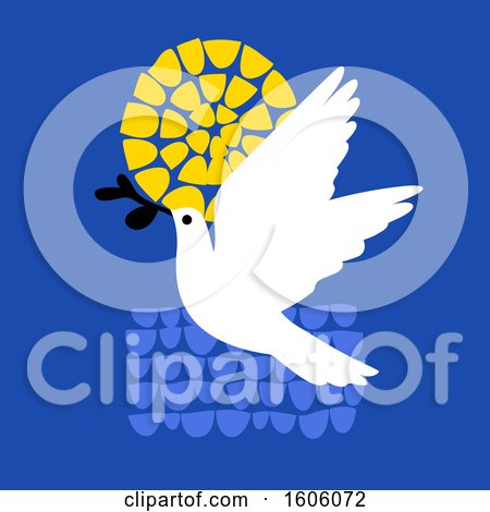 Clipart of a Peace Dove over Blue, with the Sun - Royalty Free Vector Illustration by elena
