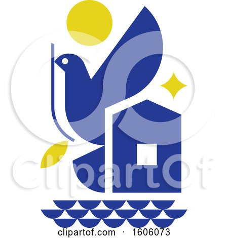 Clipart of a Blue Peace Dove and Symbols of Hope - Royalty Free Vector Illustration by elena