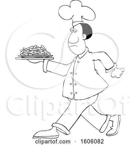 Clipart of a Cartoon Lineart Black Male Chef Walking with a Plate of Carrots - Royalty Free Vector Illustration by djart