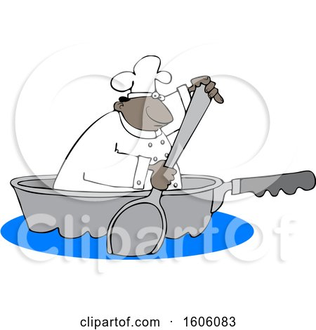 Cartoon Black Male Chef Using a Spoon to Paddle a Pan Boat Posters, Art Prints