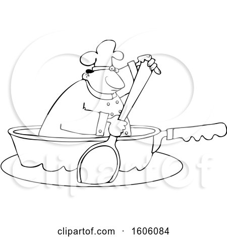 Clipart of a Cartoon Lineart Black Male Chef Using a Spoon to Paddle a Pan Boat - Royalty Free Vector Illustration by djart