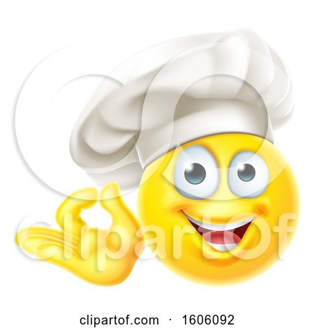 Clipart of a Happy Yellow Emoji Chef Gesturing Perfect or Ok - Royalty Free Vector Illustration by AtStockIllustration