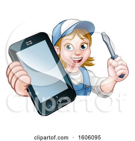 Clipart of a White Female Electrician Holding a Screwdriver and Cell Phone over a Sign - Royalty Free Vector Illustration by AtStockIllustration