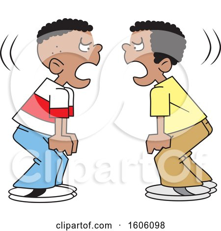 Clipart of Cartoon Black Boys Yelling at Each Other - Royalty Free Vector Illustration by Johnny Sajem
