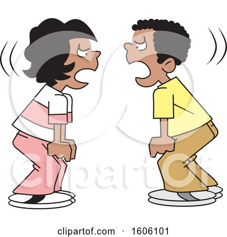 Clipart of Cartoon Black Boy and Girl Yelling at Each Other - Royalty Free Vector Illustration by Johnny Sajem