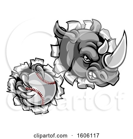 Clipart of a Tough Rhino Monster Mascot Holding a Baseball in One Clawed Paw and Breaking Through a Wall - Royalty Free Vector Illustration by AtStockIllustration