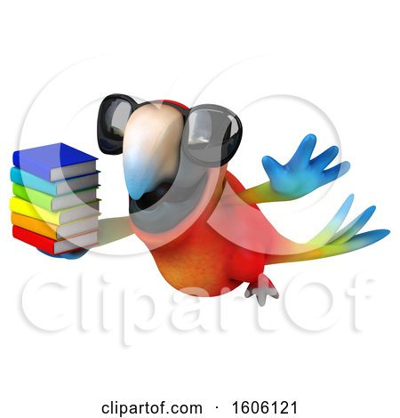 Clipart of a 3d Scarlet Macaw Parrot Holding Books, on a White Background - Royalty Free Illustration by Julos
