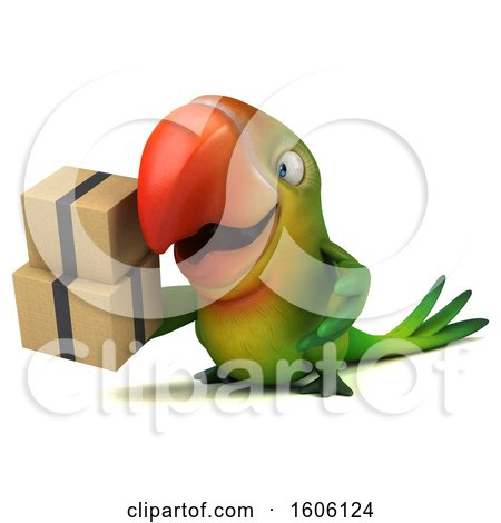 Clipart of a 3d Green Macaw Parrot Holding Boxes, on a White Background - Royalty Free Illustration by Julos