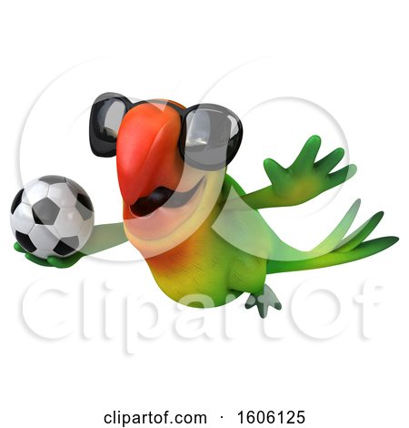 Clipart of a 3d Green Macaw Parrot Holding a Soccer Ball, on a White Background - Royalty Free Illustration by Julos
