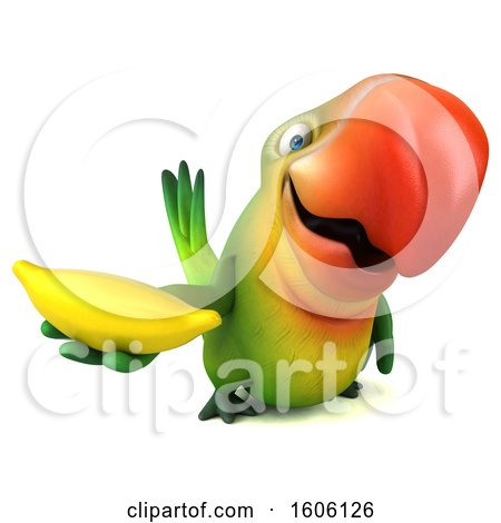 Clipart of a 3d Green Macaw Parrot Holding a Banana, on a White Background - Royalty Free Illustration by Julos