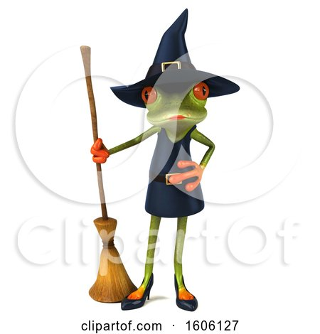 Clipart of a 3d Green Female Springer Frog Witch Holding a Broom, on a White Background - Royalty Free Illustration by Julos