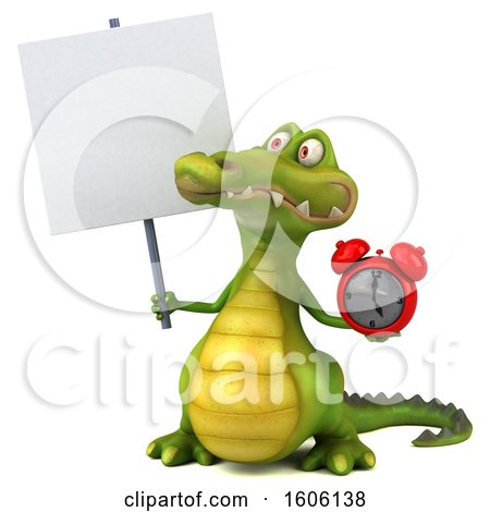 Clipart of a 3d Crocodile Holding an Alarm Clock, on a White Background - Royalty Free Illustration by Julos