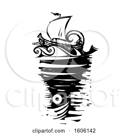 Clipart of a Black and White Woodcut Ship and Whirlpool Sea Monster Charybdis - Royalty Free Vector Illustration by xunantunich