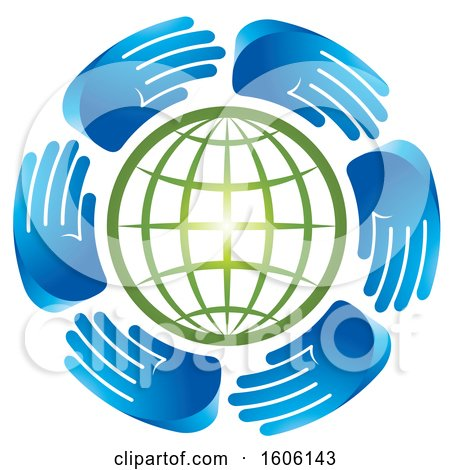 Clipart of a Circle of Blue Hands Around a Green Globe - Royalty Free Vector Illustration by Lal Perera
