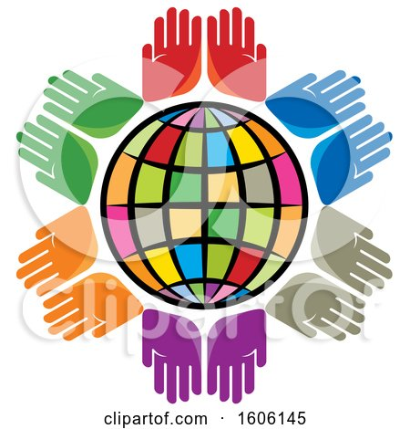 Clipart of a Colorful Globe with Pairs of Colorful Hands - Royalty Free Vector Illustration by Lal Perera