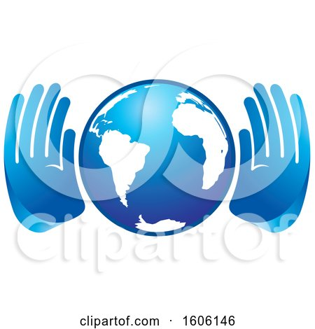 Clipart of a Pair of Blue Hands Around Globe - Royalty Free Vector Illustration by Lal Perera