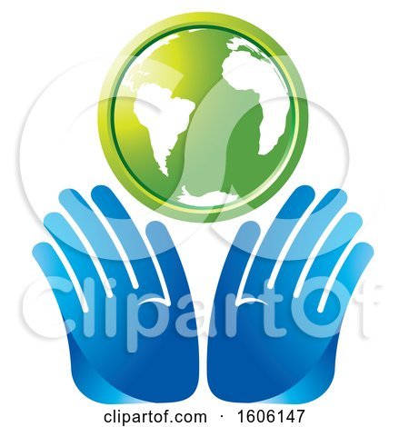 Clipart of a Pair of Hands Under a Green Globe - Royalty Free Vector Illustration by Lal Perera