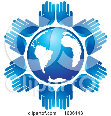 Clipart of a Circle of Pairs of Blue Hands Around a Globe - Royalty Free Vector Illustration by Lal Perera