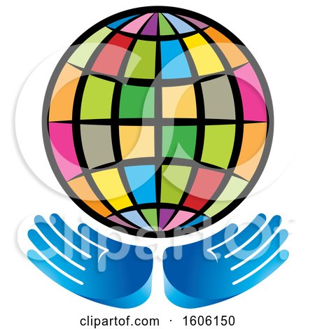 Clipart of a Pair of Hands Under a Colorful Globe - Royalty Free Vector Illustration by Lal Perera