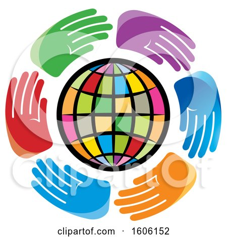 Clipart of a Circle of Hands Around a Colorful Globe - Royalty Free Vector Illustration by Lal Perera