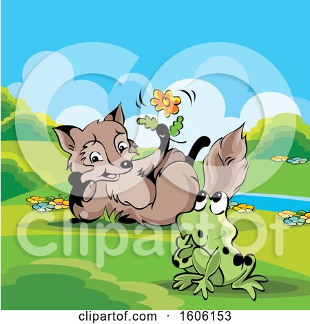 Clipart of a Cute Fox Holding a Flower by a Frog - Royalty Free Vector Illustration by Lal Perera