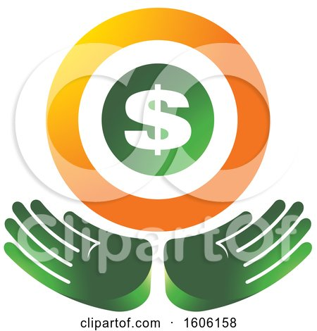 Clipart of a Pair of Green Hands Under a Dollar Sign - Royalty Free Vector Illustration by Lal Perera