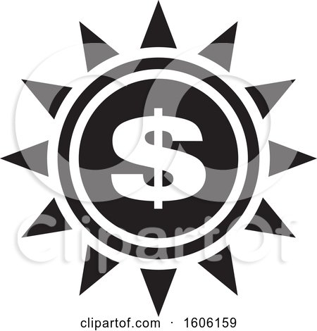 Clipart of a Black and White Dollar Sign Sun or Flower - Royalty Free Vector Illustration by Lal Perera